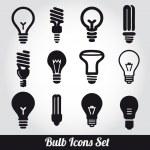 Лампочки. Лампа икона set — Cтоковый вектор