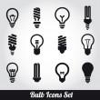 bombillas de luz. conjunto de iconos de bulbo — Vector de stock