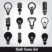 Lampes à incandescence. jeu d'icônes ampoule — Vecteur