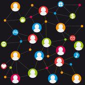 Social icon group element flirtation vector chat internet — Stock Vector