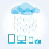 Molnet app på mobiltelefonen vector ikoner ikonuppsättning — Stockvektor