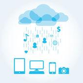 Chmura ikona aplikacji na telefon komórkowy wektor ikony zestaw — Wektor stockowy