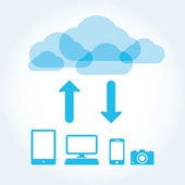 Cloud app icon on mobile phone vector icons set — Stock Vector