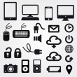 Cloud app icon on mobile phone vector icons set - Imagen vectorial