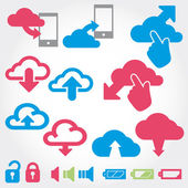 Cloud app icon on mobile phone vector icons set — Wektor stockowy