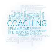 Coaching concept related spanish words in tag — Stock Vector