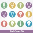 图库矢量图片: Light bulbs. Bulb icon set