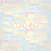 Coaching concept related words in tag cloud — Stock Vector