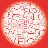Sevgi sözcüğü kolaj — Stok Vektör
