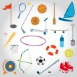 Stock Vector: Icons beach toys sports set.