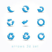 Set of icons pointer arrows 3d vector illustration isolated on white background — Stock Vector