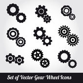 Gear wheels icons vector set — Stock Vector