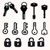 Icon Key, Black Silhouette Vector, decorative items — Stock Vector