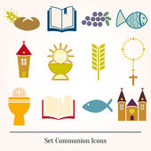 Set Illustration of a communion depicting traditional Christian — Stock Vector