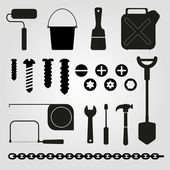 Hand tools - set of vector icons — Stock Vector