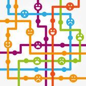Sociální sítě internet chat Společenství komunikace — Stock vektor