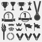 Trophy and awards icons set — Stock Vector