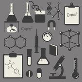 Vector black science icon set on gray — Stock Vector