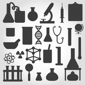 Vector black science icon set on gray — Stock Vector