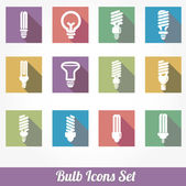 Icons set bulb idea led lamps — Stock Vector