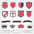 Set vector shields heraldic crowns ribbons arrows — Stock Vector #49630019