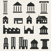 Building Icons Set. Vector illustration — Stock Vector