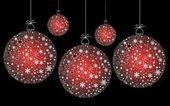 Red Christmas ball hanging — Stock Photo