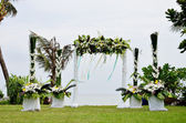 Floral arch for wedding ceremony — Stock Photo