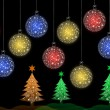 Foto de Stock  : Colorful Christmas tree with Christmas ball for greeting card