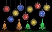красочные рождественская елка с елочный шар для поздравительной открытки — Стоковое фото