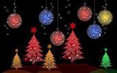 Colorido árbol de navidad con bolas de navidad para tarjetas de felicitación — Foto de Stock