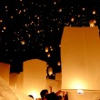 Floating lantern, Yi Peng Balloon Festival - Stock Photo