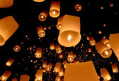 Floating lantern, Yi Peng Balloon Festival — Stock Photo