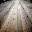 Old wooden road on the metal bridge, Thailand — Stock Photo