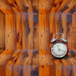 Clock inside wooden shelf — Stock Photo