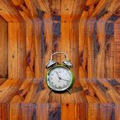 Clock inside wooden shelf — Stock Photo