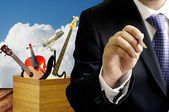 Businessman sign contract with musical artist concept — Stock Photo