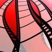 Tira de película con fondo rojo — Foto de Stock