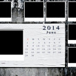 Calendar 2014 set with photo frame on grunge wall - Stock Photo