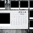Calendar 2014 set with photo frame on grunge wall - 