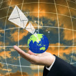 Stock Photo: Businessmsend email, Globalization concept
