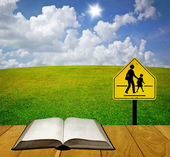 Reading book for understand traffic sign, Education for safety concept — Stock Photo
