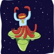 Alien on spaceship in the deep space, Octopus man character — Stock Photo