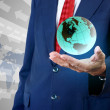 Businessman accessing global concept  — Stock Photo