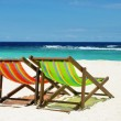 Beach chair on perfect tropical sand beach  — Stock Photo