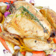 Roast chicken with vegetable — Stock Photo