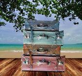 Travel bag on the beach, Tourism concept — Stock Photo