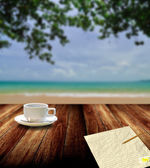 Relax with coffee and write letter, Vacation concept — Stock Photo