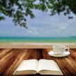 Reading book with hot cup at island , Relax concept — Stock Photo #27400425