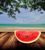 Watermelon from japan on beach, Summer concept — Stock Photo